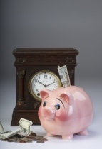 piggy bank & clock