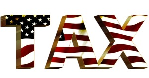 stars and stripes in the word tax